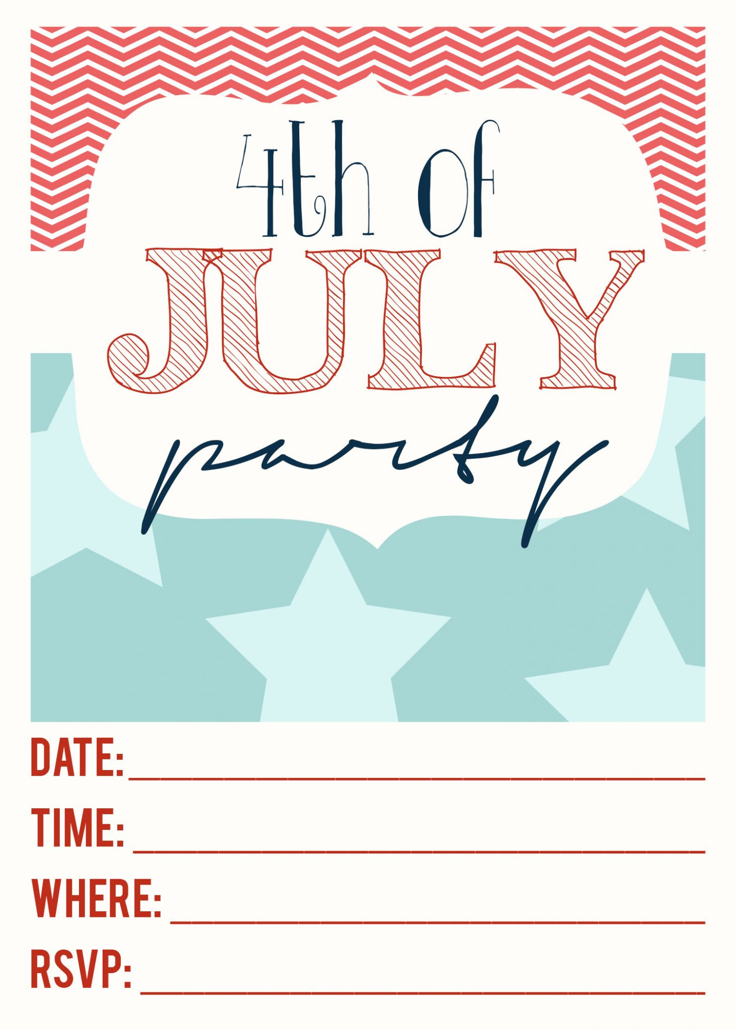 Free Printables |4th of July Party Invitation