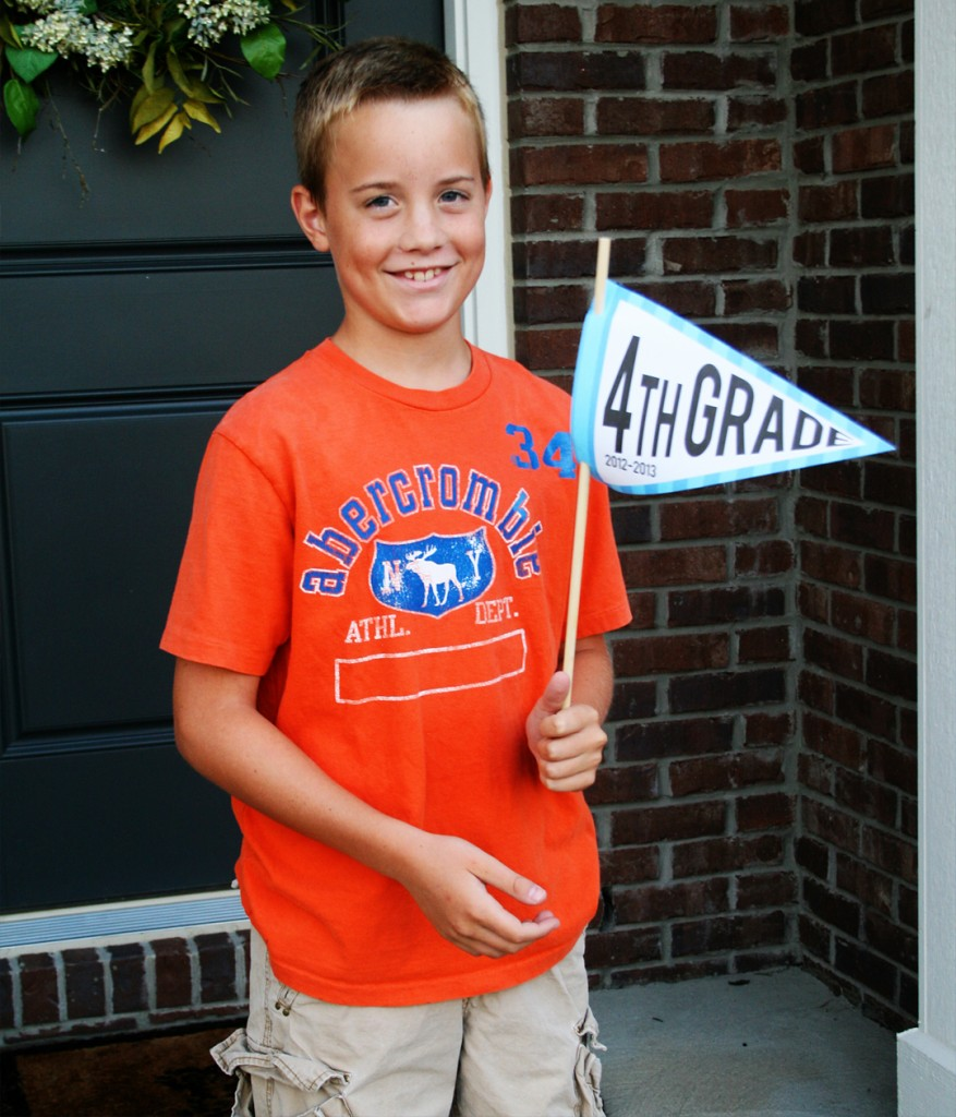 Use these first day of school picture pennants to snap a photo of your child on the first day of school! It will help you remember what grade they were in!