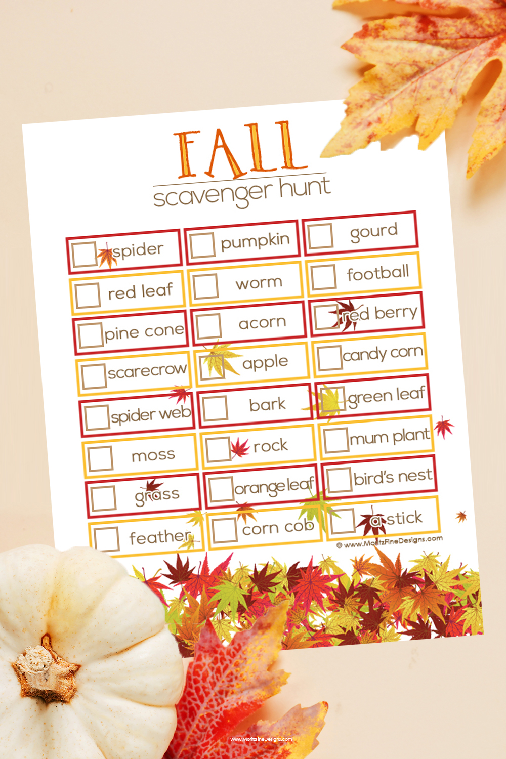 Fall Scavenger Hunt for Kids is the perfect activity to send the kids out to explore on a beautiful fall day.