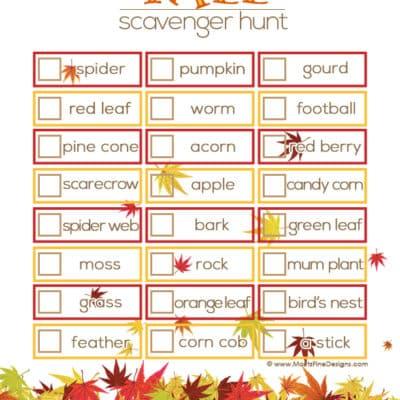 Fall Scavenger Hunt | Free Printable