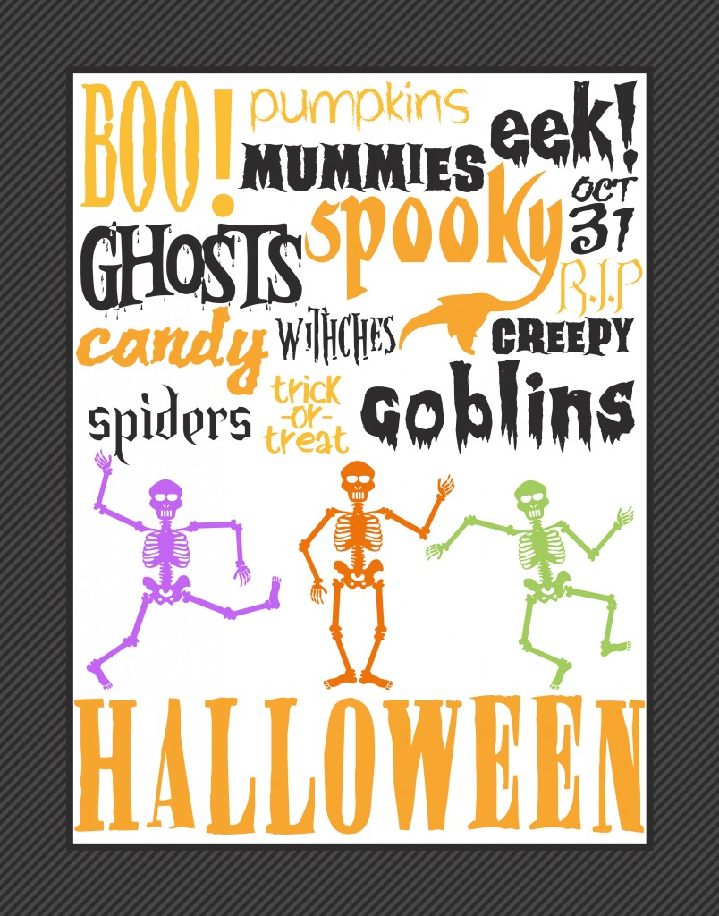 Halloween Subway Art Free Home Decor Printable