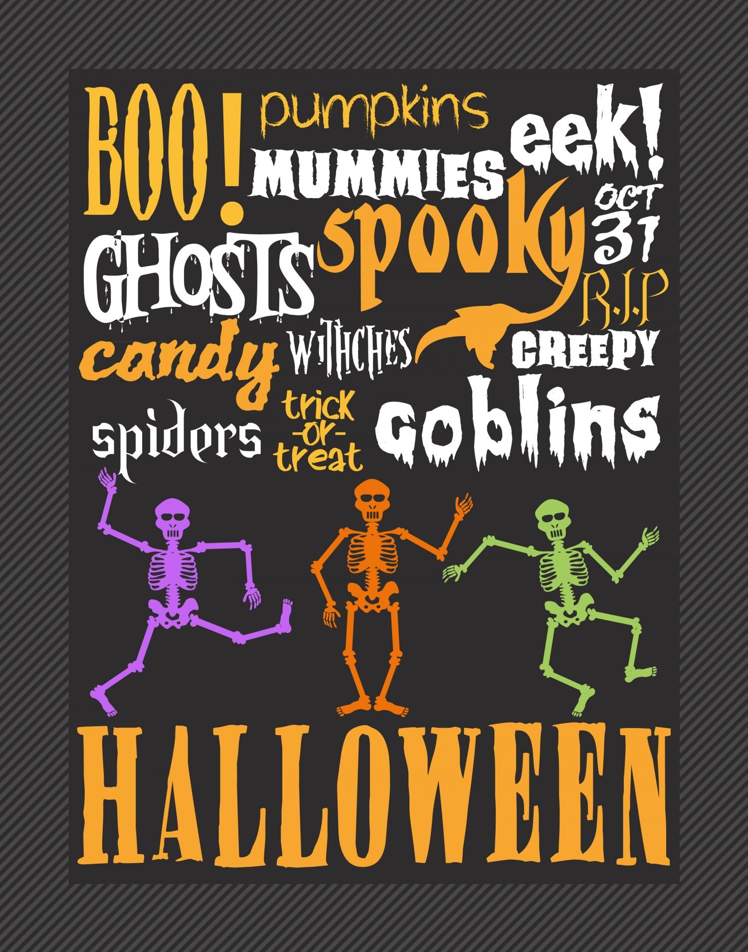 free happy Halloween greeting cards, Halloween party ... |Halloween Decorations Printable