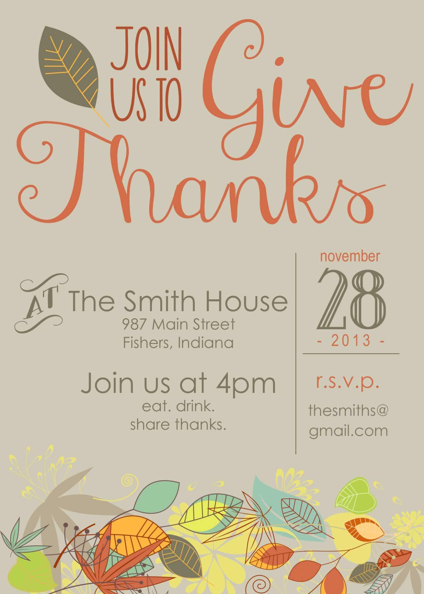 Printable Thanksgiving Invitation - Moritz Fine Designs