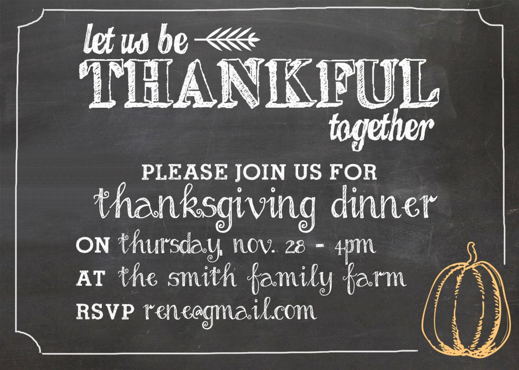 Use the free printable and customizable Thanksgiving Invitation to create the perfect Thanksgiving invite for your friends and family. #ThanksgivingInvitation