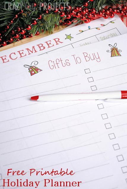 Free printable holiday planner