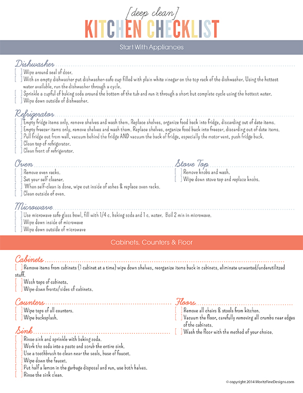 Deep Clean Kitchen Checklist | Free Printable Included