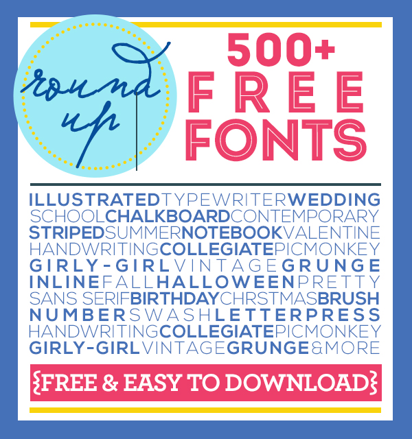 500+ Free Fonts | Free Font Friday One Year Celebration