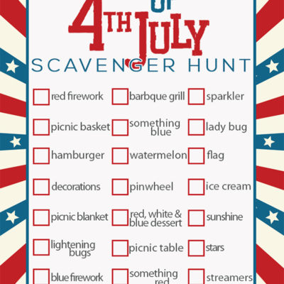 4th of July for kids | 4th of July scavenger hunt | 4th of July games for kids | 4th of July party ideas | free printable