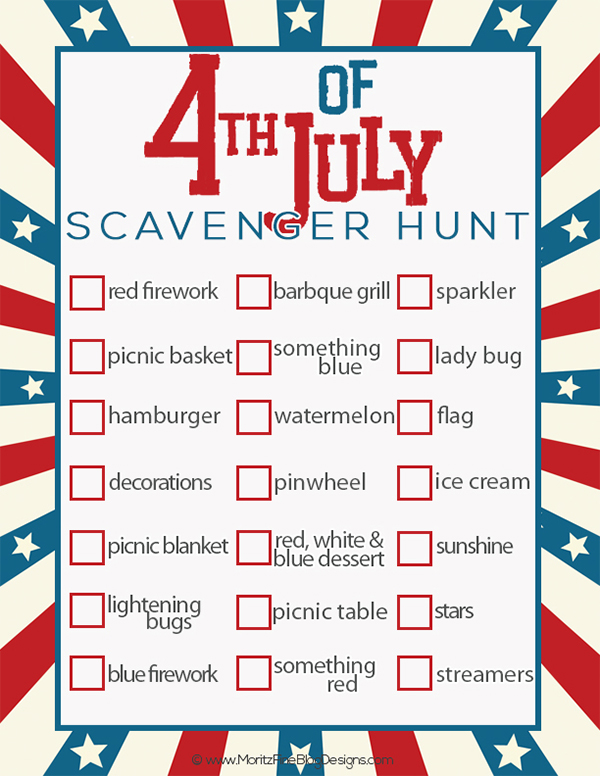 4th of July activities: Scavenger Hunt for Independence Day