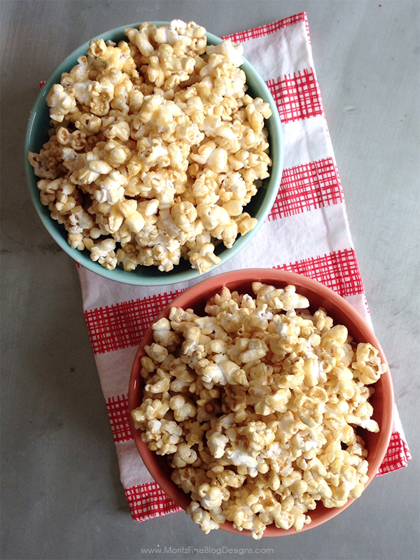 This 5-minute Caramel Corn is a quick and easy snack to make for the kids or for a movie night! Throw in some peanuts and you have homemake Cracker Jack!