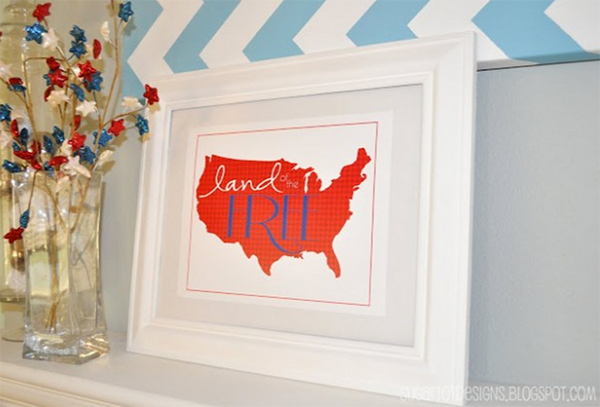 land of free 4th of July Printable