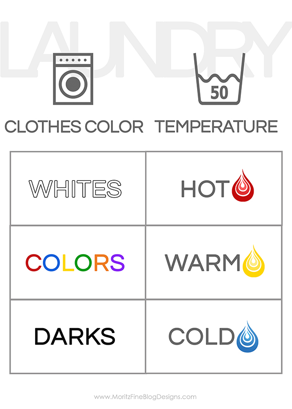 Clothes Sorting By Color ~ Teach your kids how to do laundry free printable guide