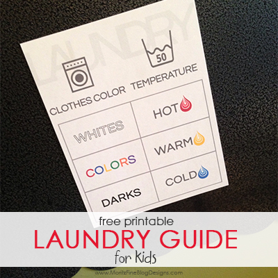 Printable Laundry Guide for Kids