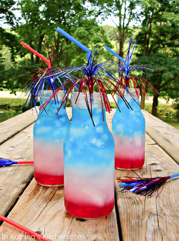 Five-Minute 4th of July Treats layered drinks