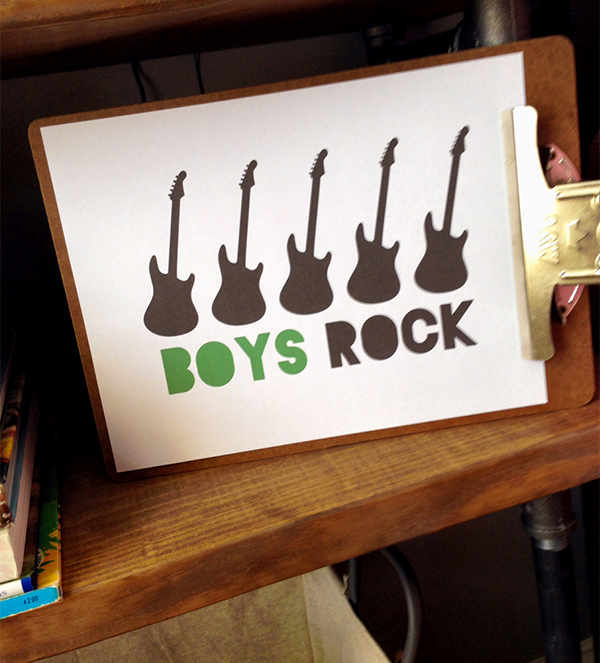 Boys Rock free printable sign decor, one for girls too