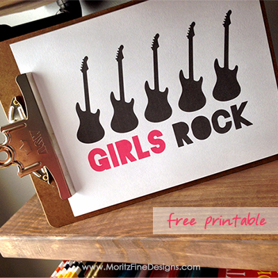 Girls Rock free printable sign decor, one for boys too