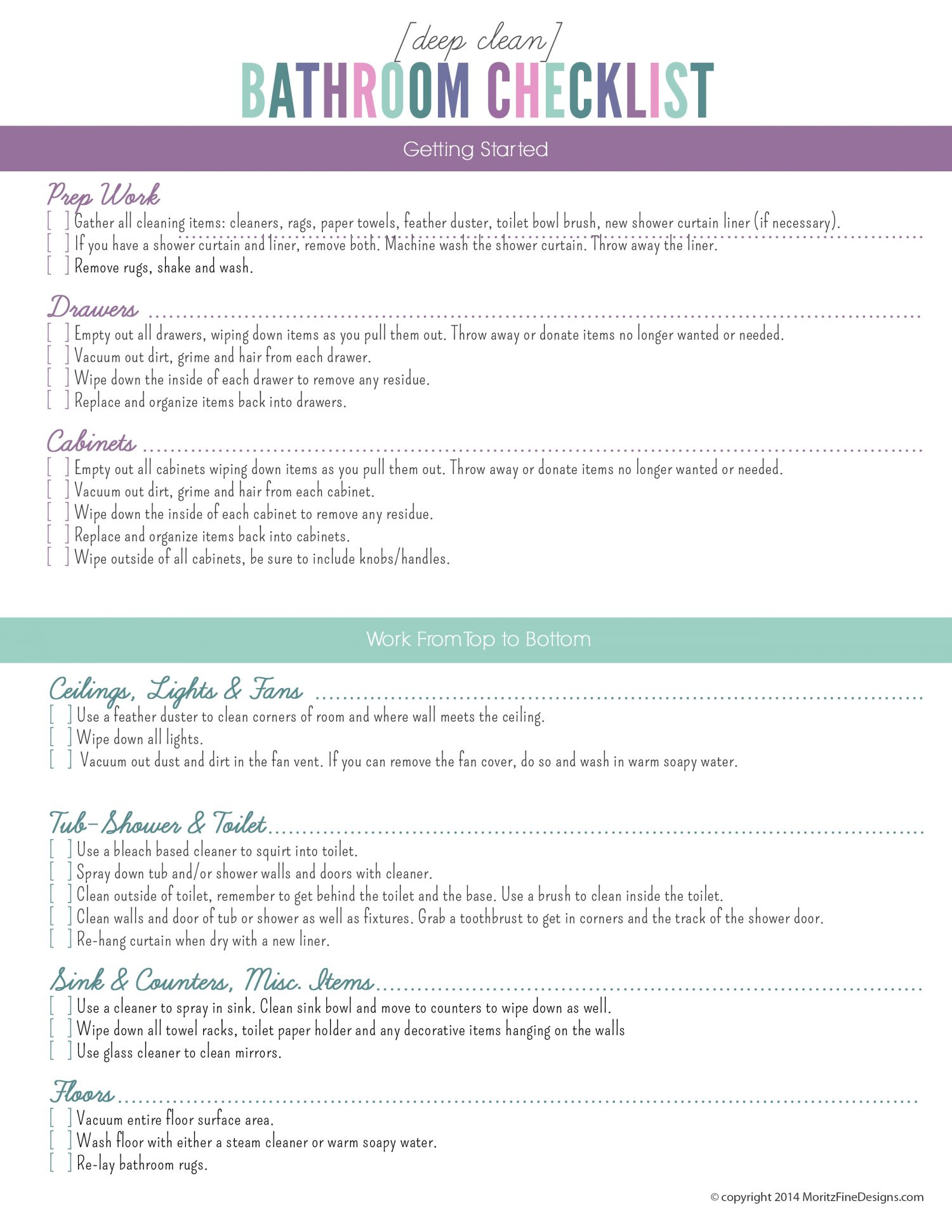 Deep clean the bathroom checklist free printable for Bathroom deep cleaning