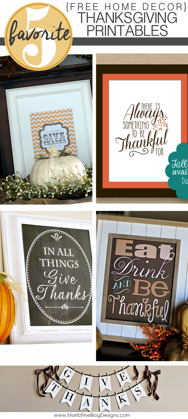 Free home decor thanksgiving printables for Thanksgiving home decorations