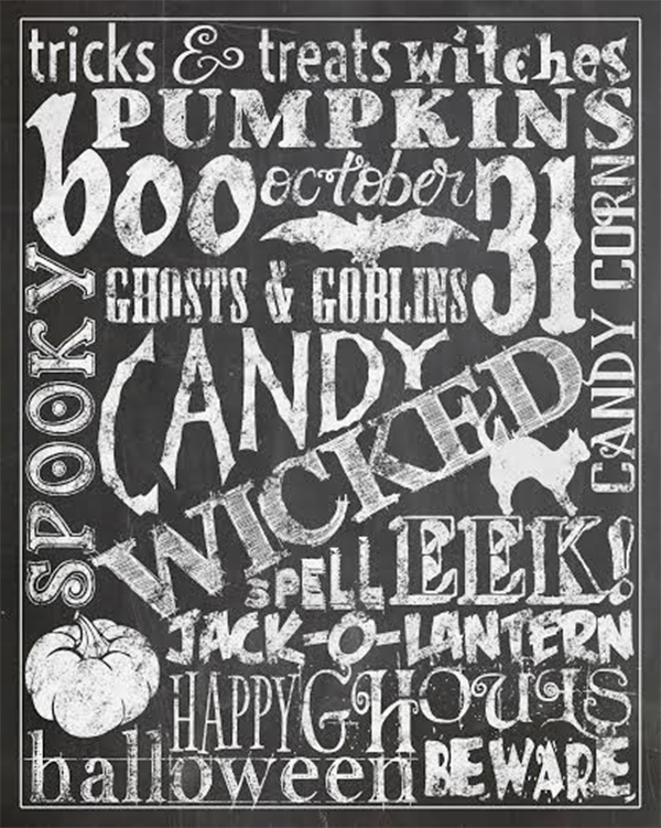 Chalkboard Halloween Printables are cute and simple decor for your home!