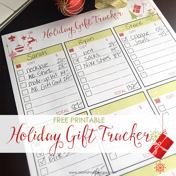 Holiday Gift Tracker Free Printable