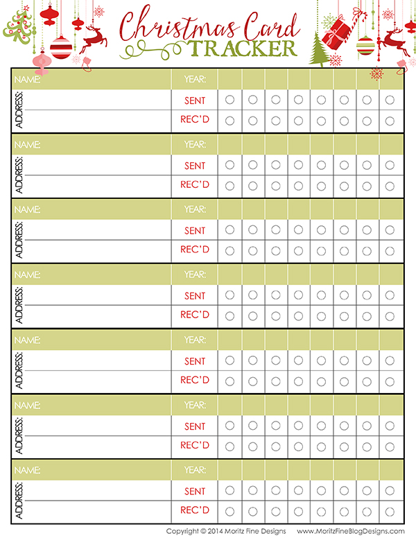 Christmas Card Tracker | Free Printable Included