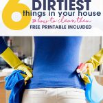Find out what the top 6 Dirtiest Things in Your House (that you probably didn't realize were so dirty!) and find out how to clean them. Free printable included.