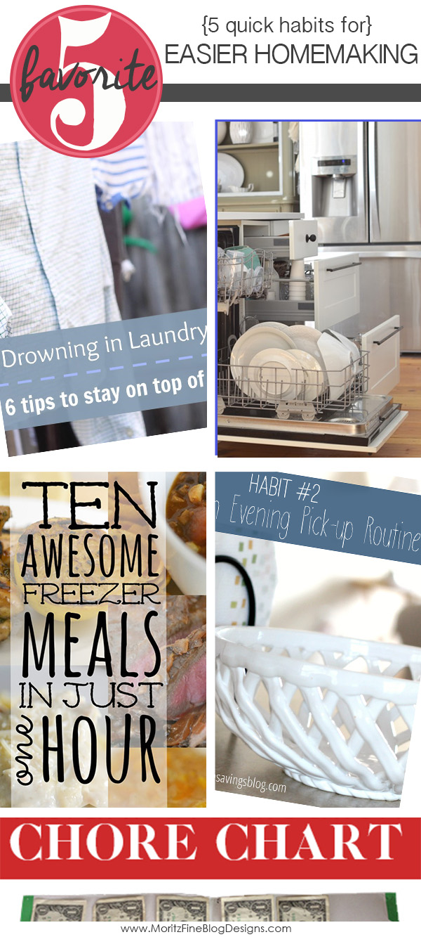 Follow these 5 Quick Habits for Easier Homemaking to feel less stressed and overwhelmed on a daily basis.