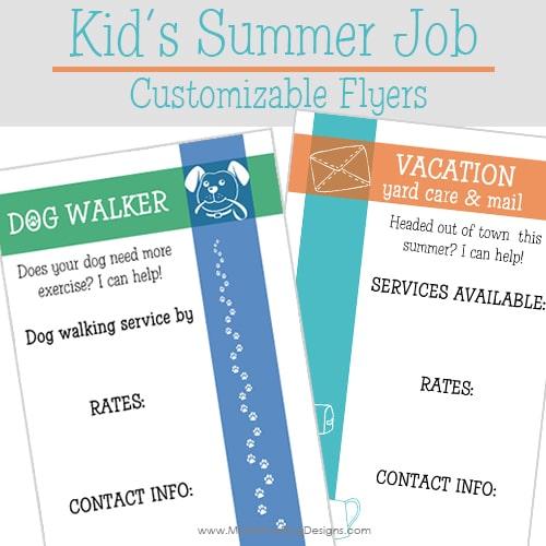 Kid's Summer Job Customizable Flyers