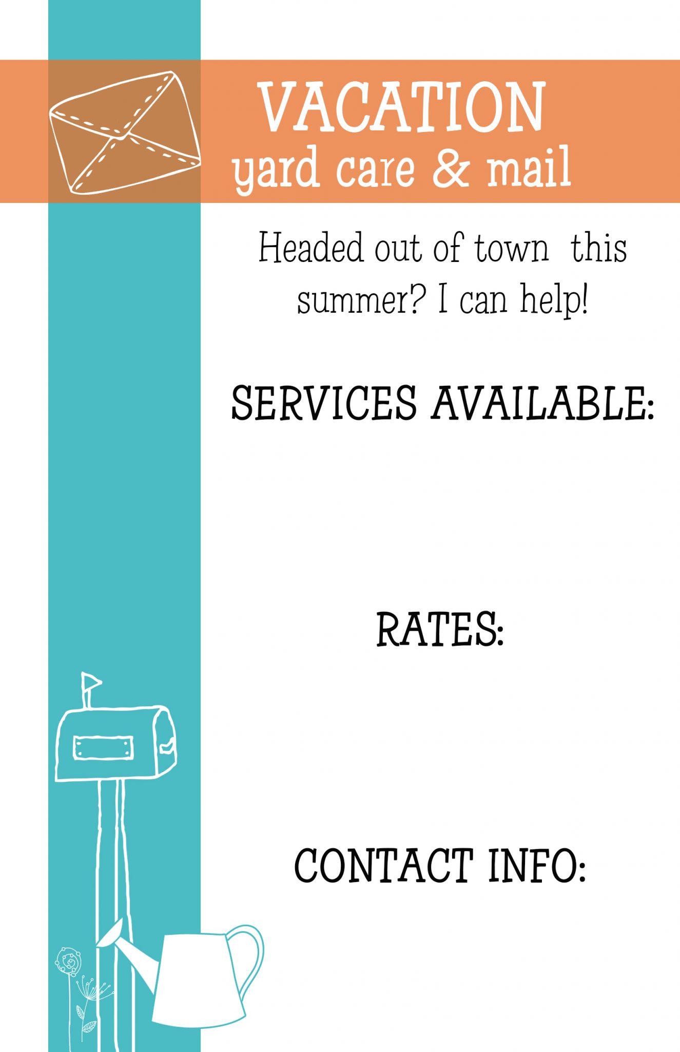 kid s summer job customizable flyers