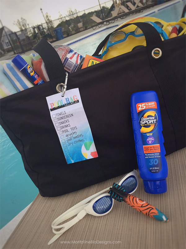 Always forgetting something on your way out the door to the pool? Attach this printable pool bag checklist tag to your pool bag and never forget a thing!
