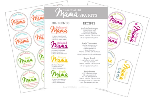 Enjoy a spa-like feeling in the comfort of your own home! Use these free printables and recipes to create your own Essential Oils Homemade Spa Kit in just minutes.