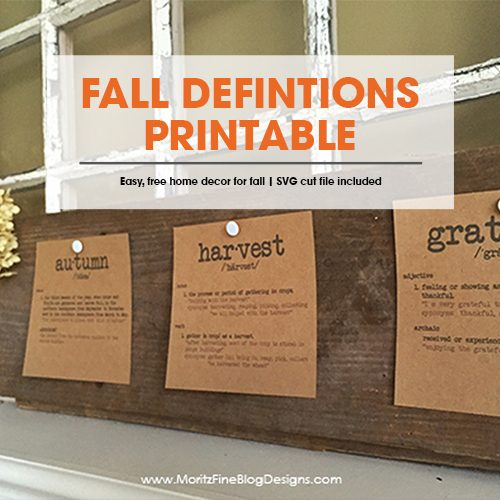 fall definitions free fall printable | easy and simple home decor | free svg cut file for Cricut Machine and Shilouette