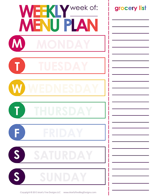 Weekly Dinner Meal Planner  Free Printable Included