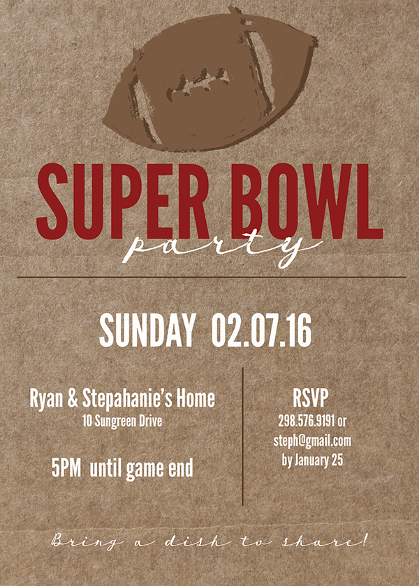 picture relating to Super Bowl Party Invitations Free Printable called Tremendous Bowl Printable and Invitation Cost-free Printable