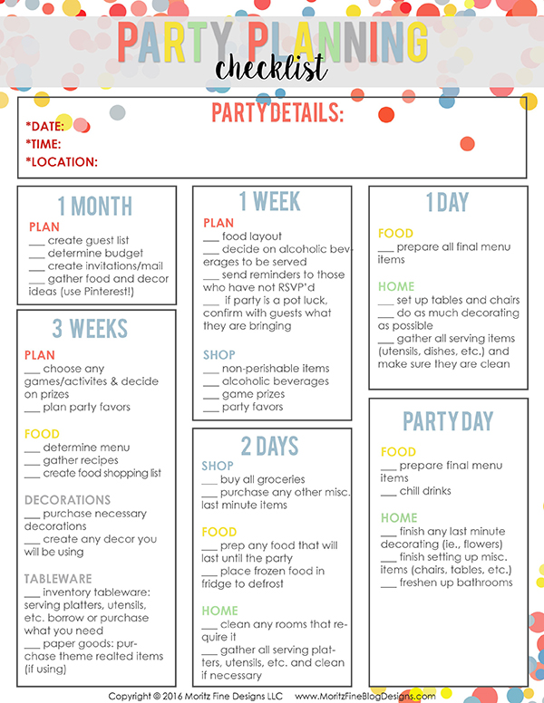 party planning template free checklist