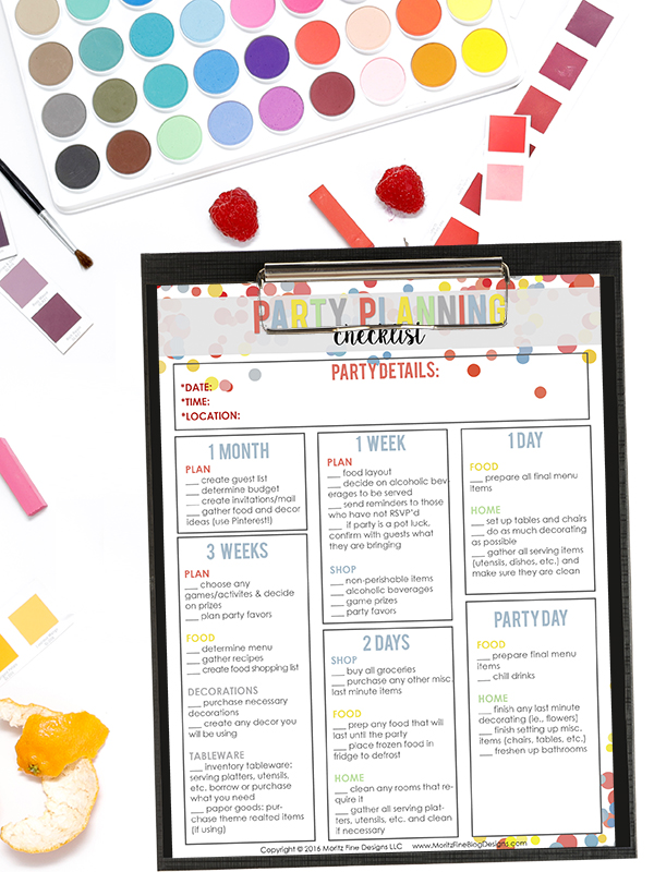 easy party planning checklist free printable included