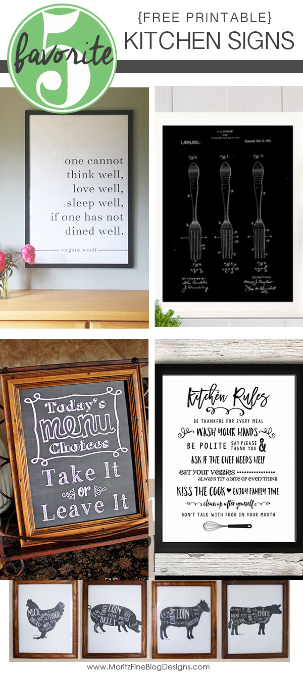 Is your kitchen drab and need a little pick-me-up, a simple conversation piece? These Free Printable Kitchen Signs are the key to spice up your kitchen.