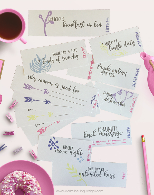 This Mother's Day Coupon Book is easy to print out, cut apart (perfect job for the kids) and deliver on Mother's day. There are even 4 customizable coupons!