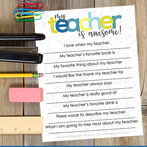 teacher appreciation printable free printable included