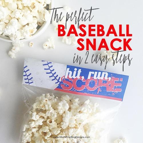 Baseball Snack Treat Bag Topper