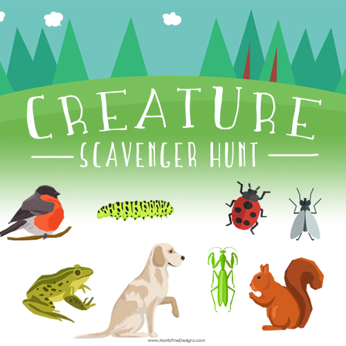 Pack up the kids, hit the nature preserve, the park or even just your back yard. Give the kids the Creature Scavenger Hunt and send them off an adventure.