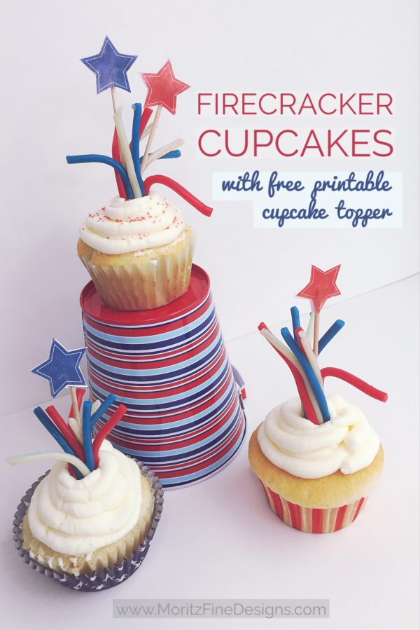 Make these adorable 4th of July Firecracker Cupcakes in just minutes! A perfect theme styled holiday treat for your July 4th celebration.
