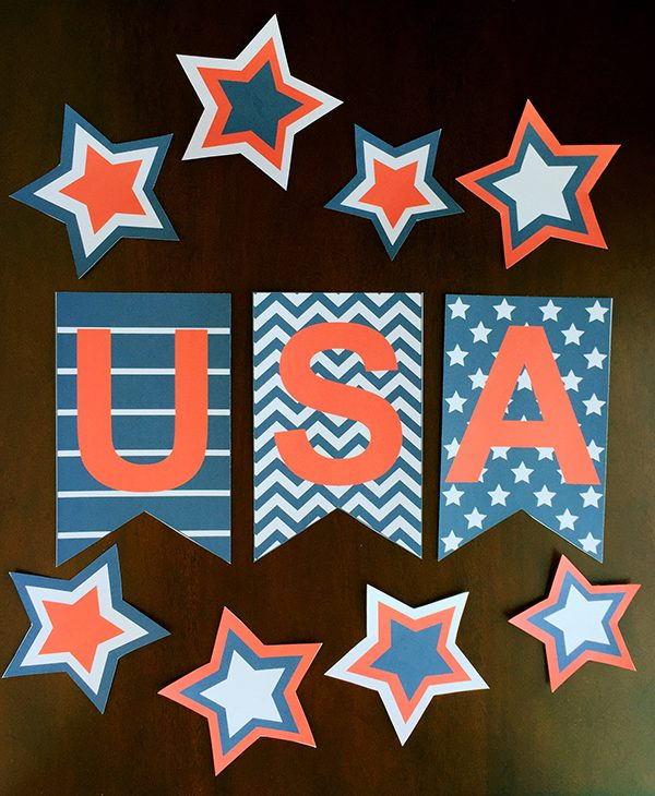 "Having a little ""festive"" decor in your house makes every holiday special..this 4th of July use this USA Printable Banner for you mantle or party table."