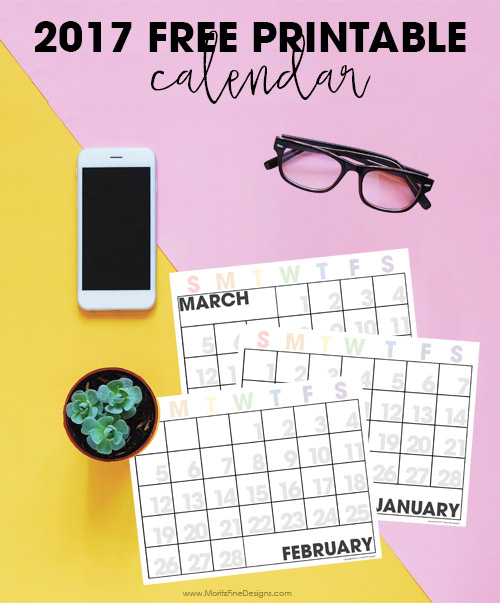 Free Editable 2017 Printable Calendar - Perfect for adding all your events: school, home, work, and more--it makes getting life organized, easy!
