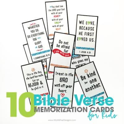 10 Bible Verse Memorization Cards for Kids