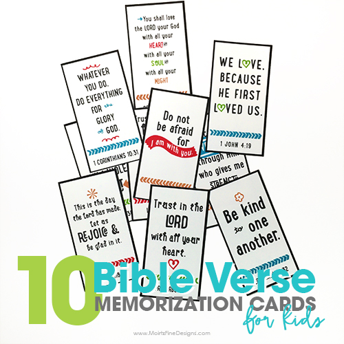 10 Bible Verse Memorization Cards for Kids