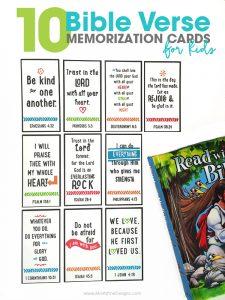 10 Bible Verse Memorization Cards for Kids | Bible Memory Cards | inspirational Bible Verses | free printable