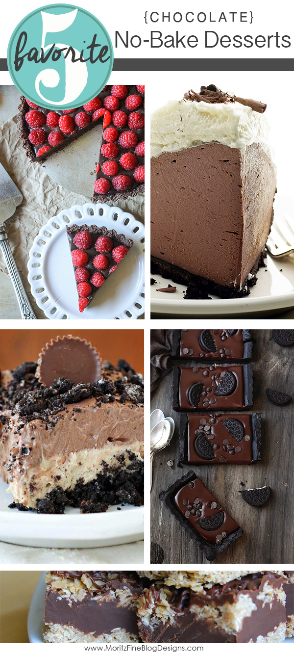 Need a fast, quick and easy dessert? Do not even think about turning on the oven, instead make one of these 5 awesome No Bake Chocolate Desserts.