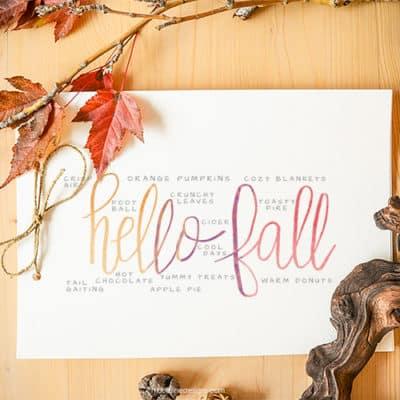 Hello Fall Watercolor Printable