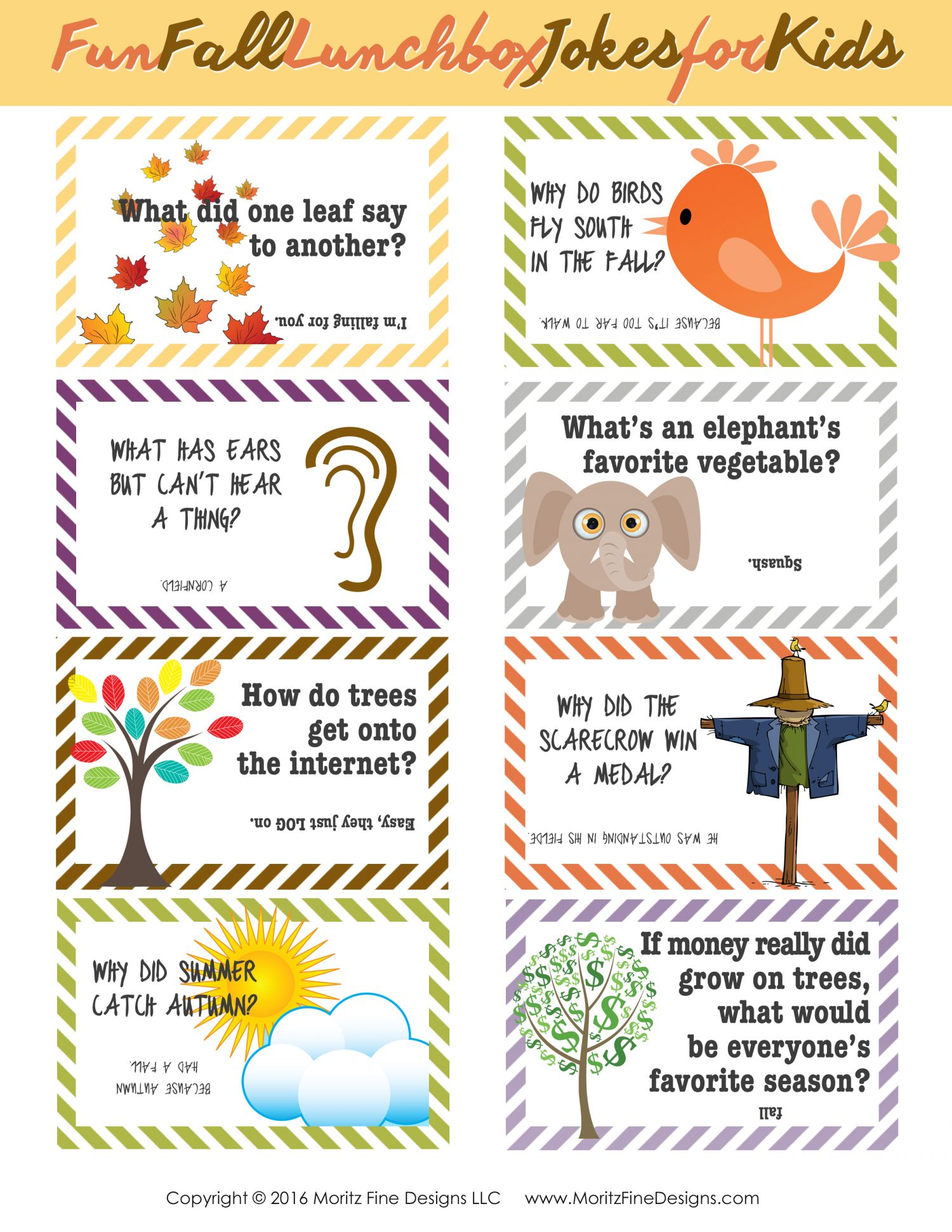 Do your kids need a little laugh at lunch time? Grab these free printable Fall Lunch Box Jokes for Kids and put one in their lunch!